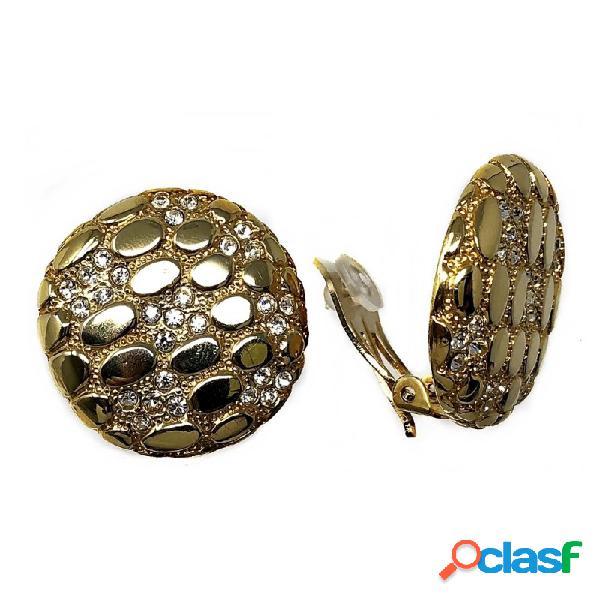 Pendientes bisutería metal dorados 30mm. piedras blancas