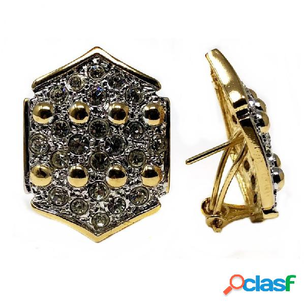 Pendientes bisutería metal dorados hexágono 28mm. piedras