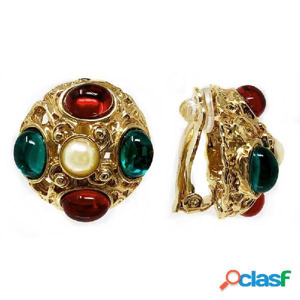 Pendientes bisutería metal dorados perla piedras 24mm. rojo