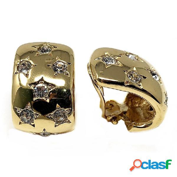 Pendientes bisutería metal dorados rectangulares 24mm.