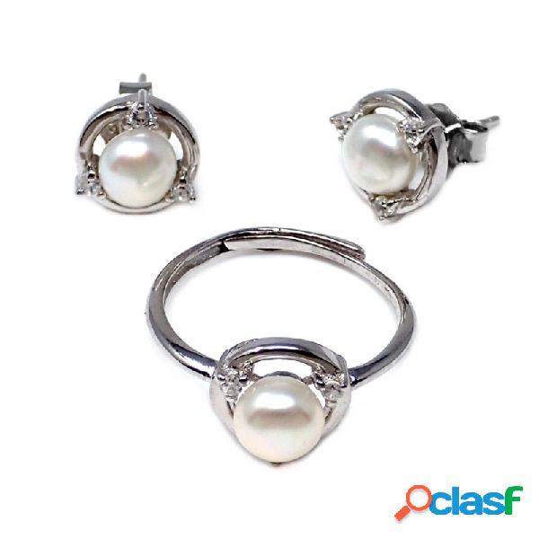 Conjunto plata ley 925m perla cultivada circonitas círculo