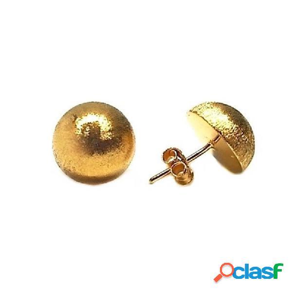 Pendientes plata ley 925m dorados lisos 12 mm. media bola