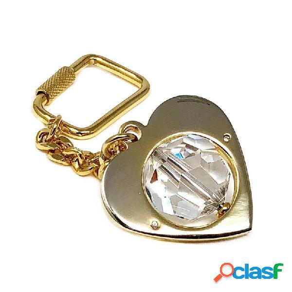 Llavero metal dorado 38mm. corazón bola cristal