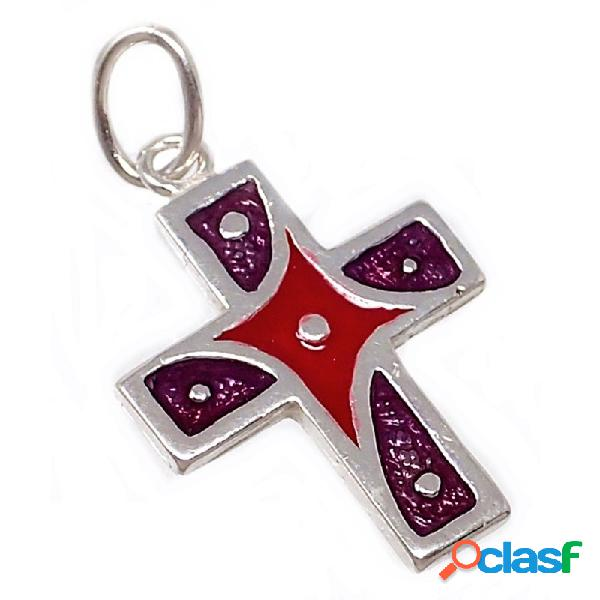 Cruz plata ley 925m esmaltada 19mm. violeta roja