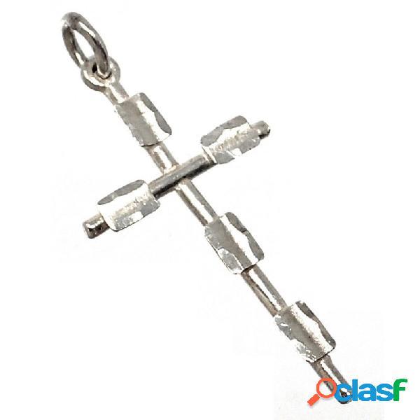 Cruz plata ley 925m palos rectángulos relieve 31mm.