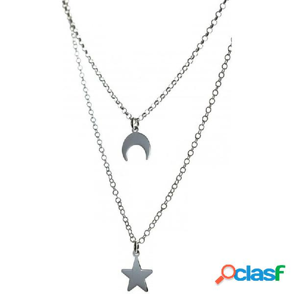 Gargantilla plata ley 925m luna estrella doble cadena rolo