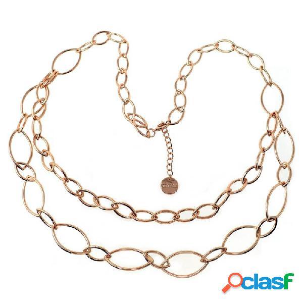 Collar pertegaz colección tears mujer doble cadena oval