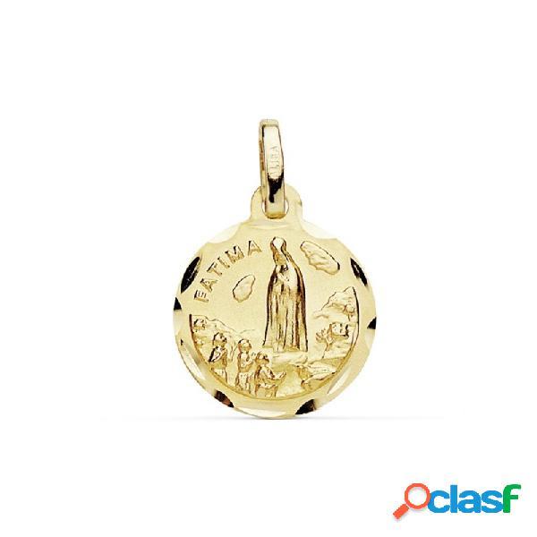 Medalla oro 18k virgen de fátima 12mm. cerco tallado