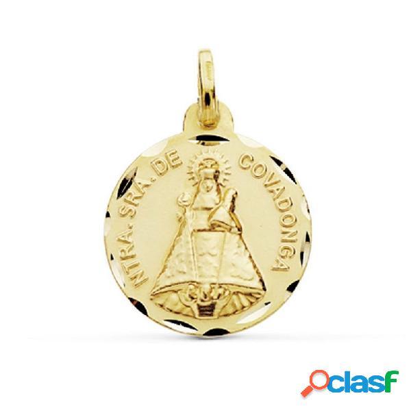 Medalla oro 18k virgen de covadonga 18mm. cerco tallado