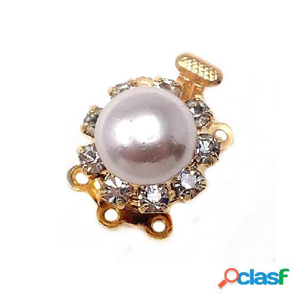 Broche collar metal dorado circonitas perla sintética