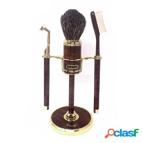 Set afeitar marrón metal dorado