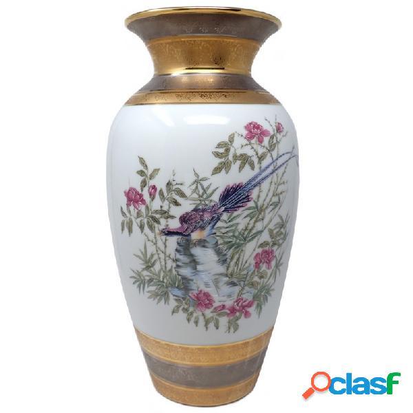 Jarrón cerámica pájaro pintado a mano en oro plata pájaro