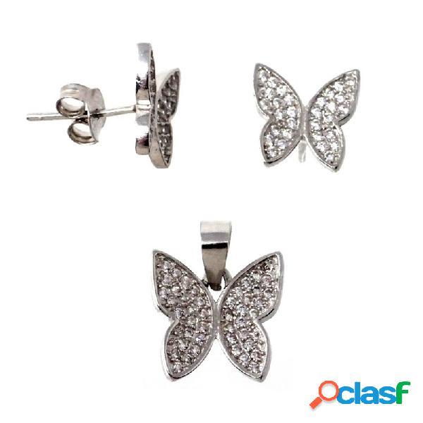 Juego pendientes colgante plata ley 925m mariposas circonita