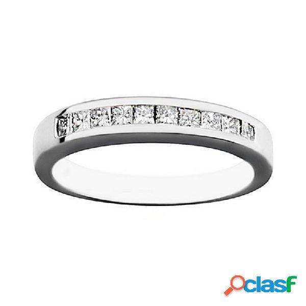 Alianza oro blanco 18k 10 diamantes brillantes 0.5ct.