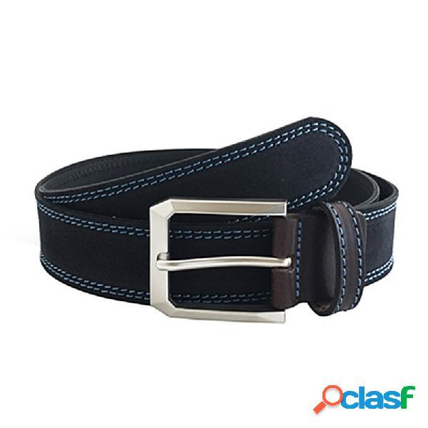 Cinturón piel serraje cosido negro