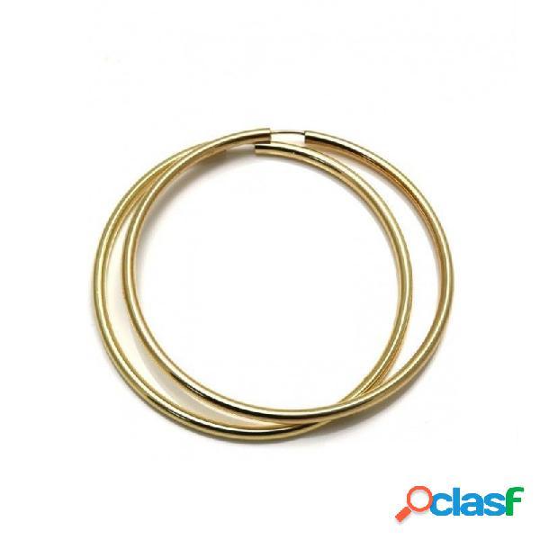 Pendientes aros plata ley 925m 60mm. chapados dorados