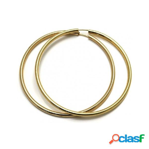 Pendientes aros plata ley 925m 65mm. chapados dorados