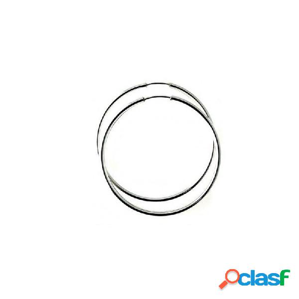 Pendientes aros plata ley 925m finos lisos 35mm. diámetro