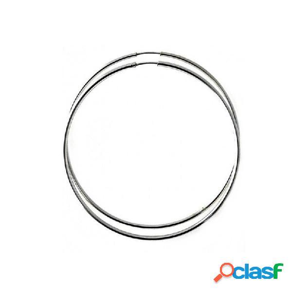 Pendientes aros plata ley 925m finos lisos 55mm. diámetro