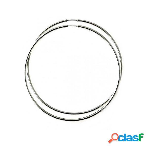 Pendientes aros plata ley 925m finos lisos 60mm. diámetro
