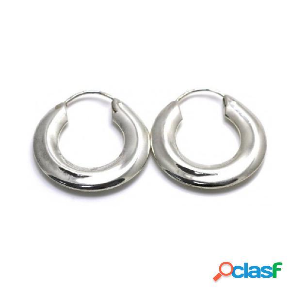 Pendientes aros plata Ley 925m lisos 30mm. diámetro exterior