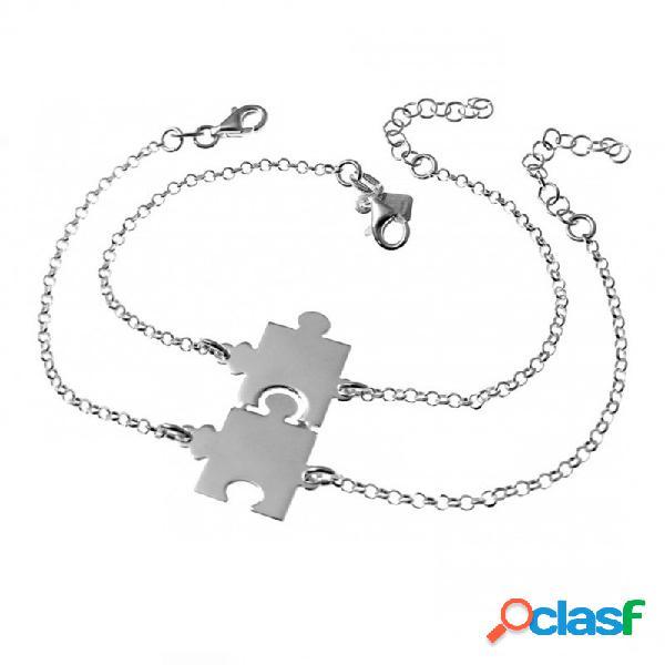 Pulseras plata ley 925m 16.5cm. motivo puzzle para partir