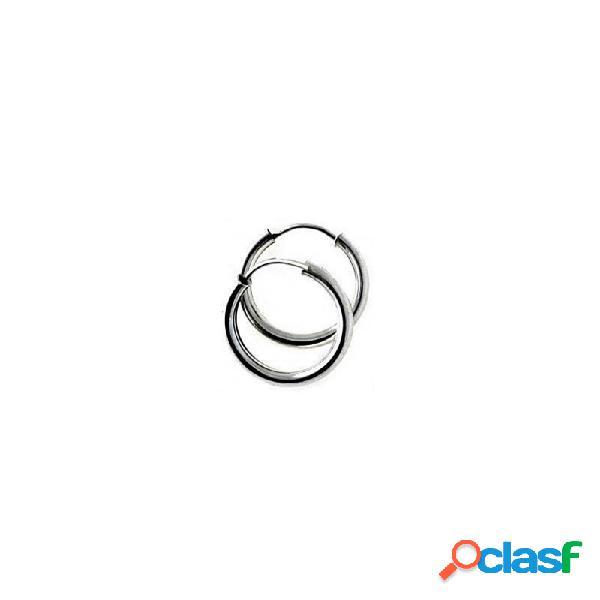 Pendientes aros plata Ley 925m lisos 15mm. diámetro interior
