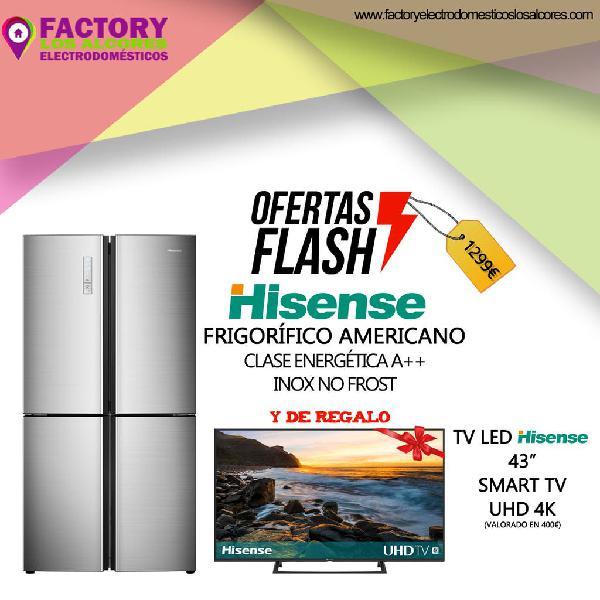 Frigorifico americano hisense + tv 43 pulgadas