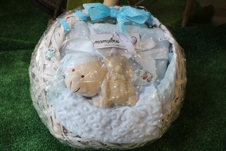 Original cesta para bebé manta borreguito azul