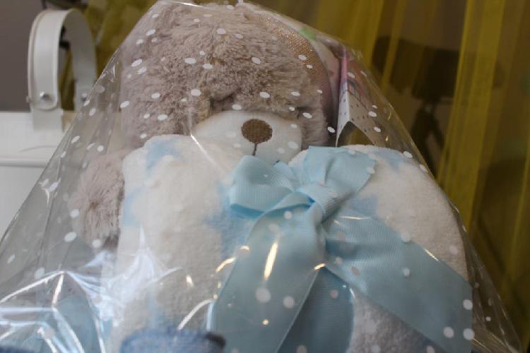Original regalo bebé manta peluche azul.