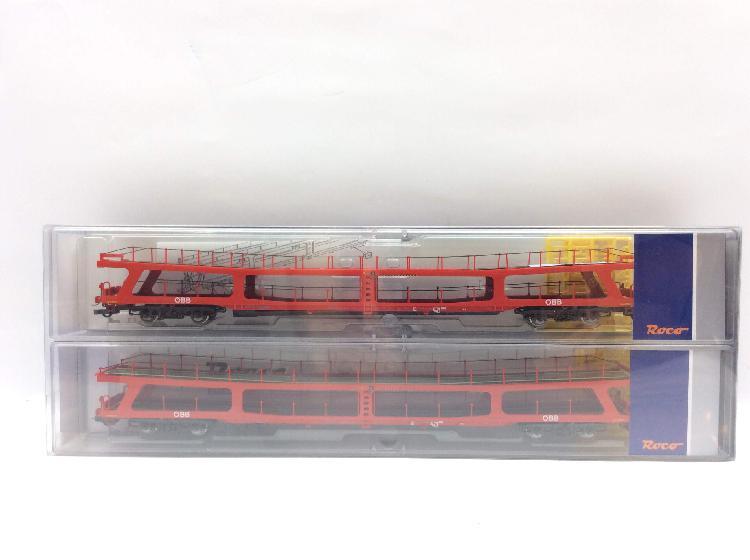 Vagon escala h0 roco set de dos portacoches ddm, obb, color