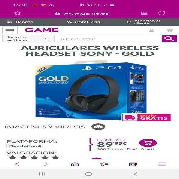 Auriculares wireless headset sony - gold 7.1