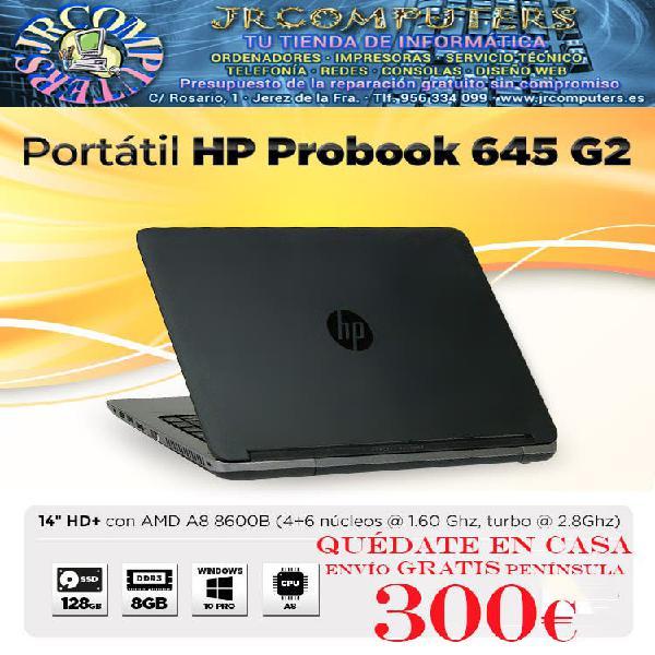 "Hp probook 645 g2/amd a8/128gb ssd/8gb/14"""