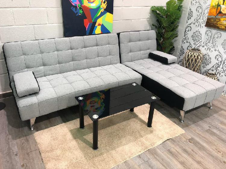 Sofá cama chaise-longue gris claro