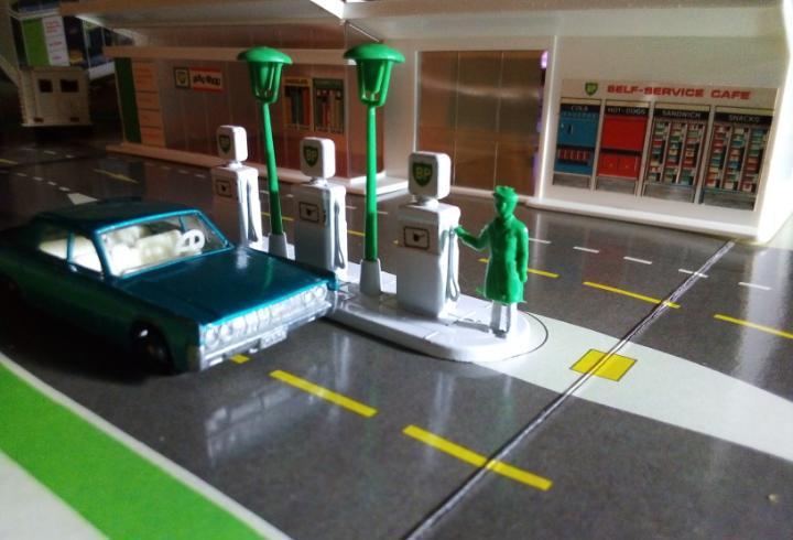 Estación de servicio matchbox sin coches