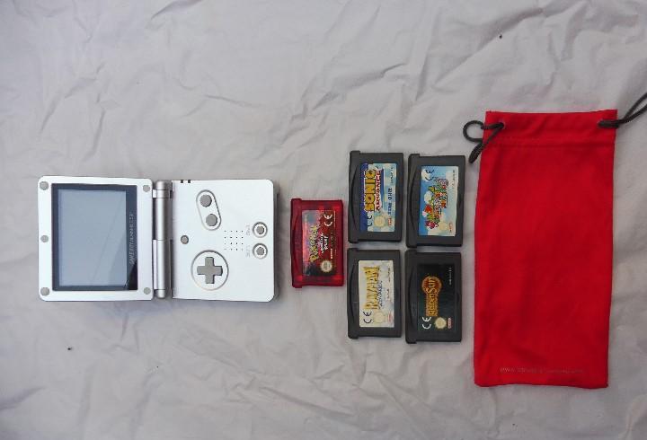 Nintendo lote game boy advance sp plata y 5 juegos