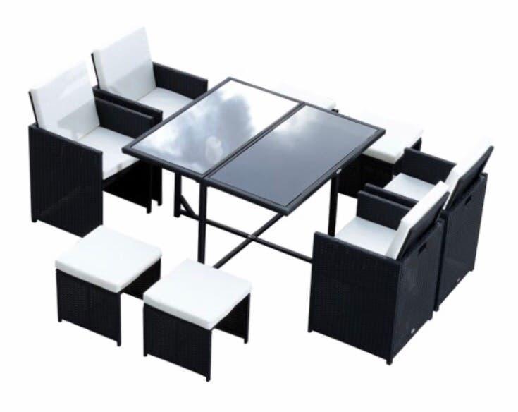 Conjunto mesas y sillas jardin