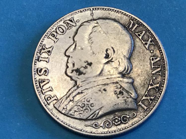 Moneda 1 lira. estados pontificios. año 1866