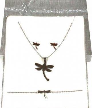 Conjunto joyas de acero libélula
