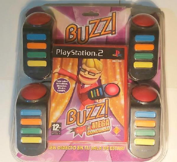 Juego buzz ps2 - con embalaje - mandos, juego y manual