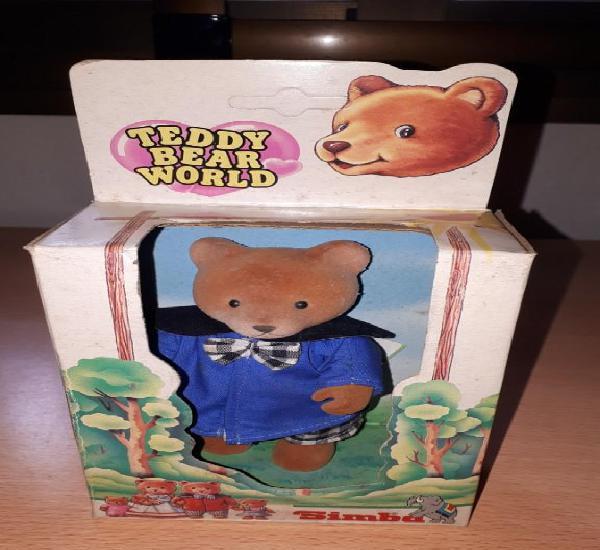 OSITO TEDDY - BEAR WORLD - VESTIDO AZUL. 15x10 cm