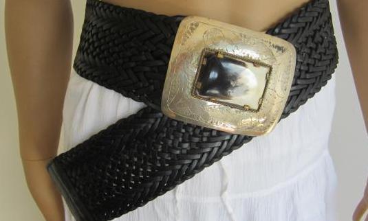 Ropa de mujer- cinturon piel negro