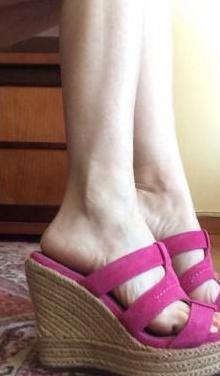 Sandalias cuña piel ugg rosa t.38