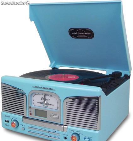 Tocadiscos Retro Azul con Radio, CD/MP3, usb, bt y Grabador