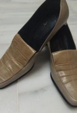 Zapatos piel beige vintage 70-80s t. 38