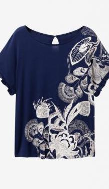Camiseta desigual azul 【 REBAJAS Julio 】 | Clasf