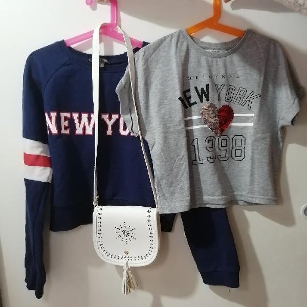Conjunto camiseta, sudadera y bolso