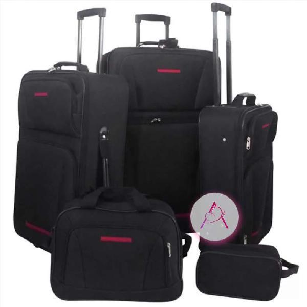 Juego de maletas de viaje 5 piezas negro