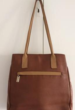 Bolso de piel marrón/beige