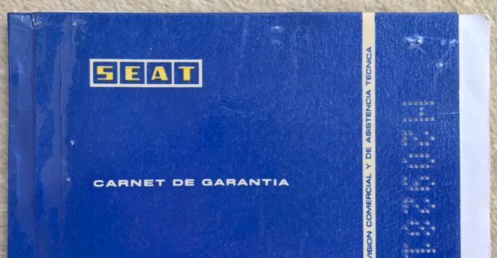 Carnet de garantía automóvil seat 127 4 puertas - año